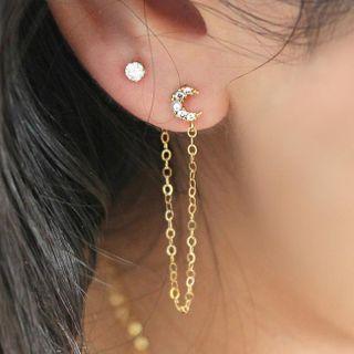 Mulyork - Rhinestone Chain Drop Earring