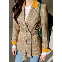 Styleonme - Belted Contrast-Trim Plaid Blazer