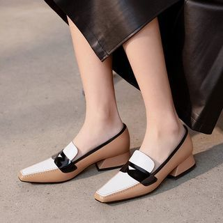 Megan - 插色粗跟真皮乐福鞋