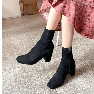 icecream12 - Block-Heel Faux-Suede Ankle Boots
