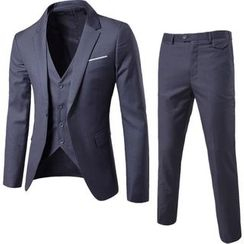 Sheck - Suit Set: Single-Button Notched-Lapel Blazer + V-Neck Vest + Dress Pants