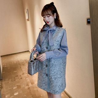 CHEBBI - Set: Long-Sleeve Tie-Neck Shirt + Mini Tweed Pinafore Dress