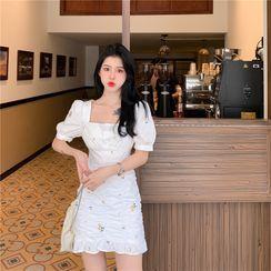 Kizmi - Short-Sleeve Floral Embroidered Mini Sheath Dress
