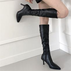 MONOBARBI(モノバービ) - Pointy-Toe Neoprene / Pleather Long Boots
