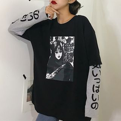 Magma - Camiseta de manga larga con estampado de dos piezas