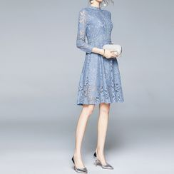 Seire - Lace 3/4-Sleeve Midi A-Line Dress