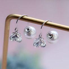 Zatanna - 925 Sterling Silver Faux Pearl Rhinestone Flower Earring