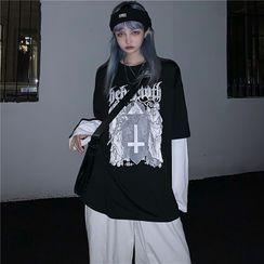 Giuliana - Mock Two-Piece Long-Sleeve Cross Print T-Shirt