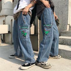 Koiyua - Couple Matching Dinosaur Print Wide-Leg Jeans