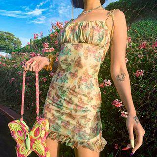 Puffields - Butterfly Print Spaghetti-Strap Sheath Dress