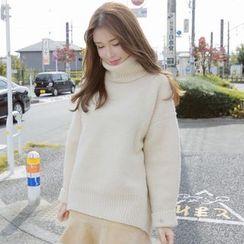 Champi - Plain Turtleneck Long-Sleeve Sweater