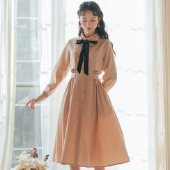 Retro Forest - Bow Accent Long-Sleeve Midi A-Line Dress