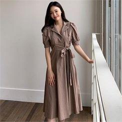 Styleberry - Puff-Sleeve Tie-Waist Dress