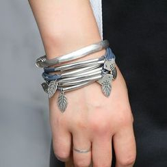KINNO - Tree & Bird Braided Layered Genuine Leather Bracelet