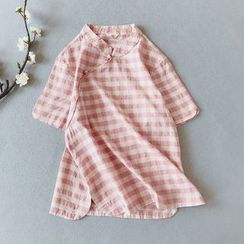 Vateddy - Traditional Chinese Short-Sleeve Gingham Top