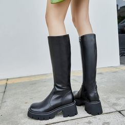 JY Shoes - Plain Block Heel Tall Boots