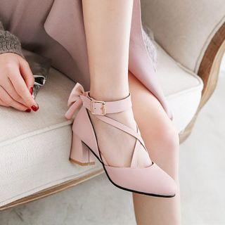 Freesia - 交衩踝扣帶粗跟鞋