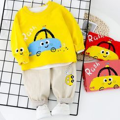 Mini Bae - Kids Set: Printed Pullover +  Cropped Harem Pants