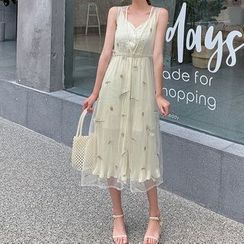 Bornite - Set: Spaghetti Strap Midi A-Line Dress + Embroidered Sleeveless Open Front Long Mesh Vest