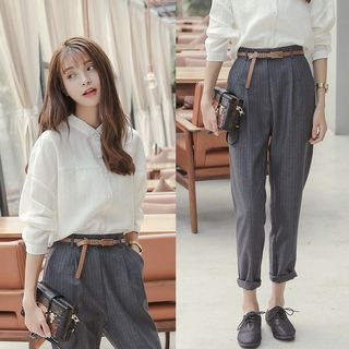 Apotheosis - Set: Plain Side-Slit Blouse + Pinstriped High-Waist Cropped Pants
