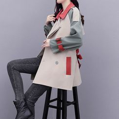 Shinobu - Double Breasted Color Block Trench Jacket / Trench Coat