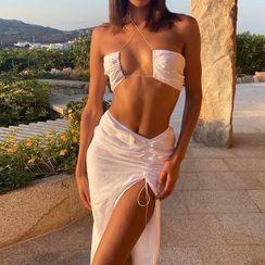 Kobeque - Set: Halter-Neck Cropped Camisole Top + Slit Midi Pencil Skirt