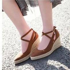 Freesia - Strappy Woven Wedge Heel Sandals