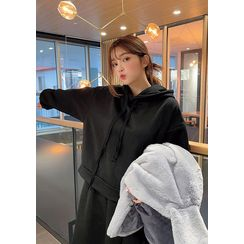 chuu - Monotone Hoodie & Flared Long Skirt Set