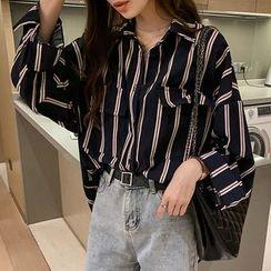 ROAM - 条纹饰口袋宽松衬衫