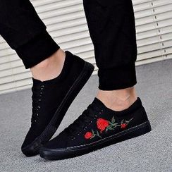 Solejoy - Embroidered Lace-Up Sneakers