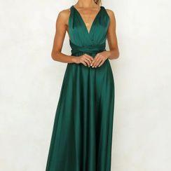 Shoris - 纯色吊带塑身晚礼服