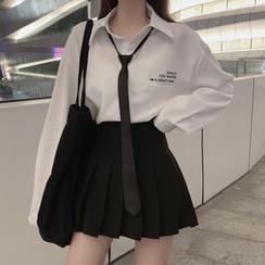 Shopherd - 飾口袋襯衫 / 高腰打褶襉裙
