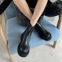JY Shoes - Genuine Leather Platform Short Boots
