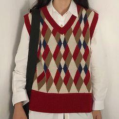 Minerva - Diamond Check Knit Vest