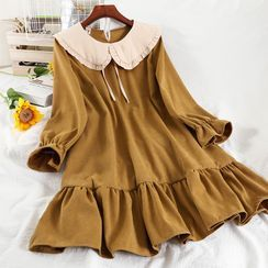 Miss Puff - Long-Sleeve Collar Mini A-Line Dress