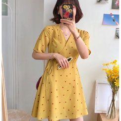 Elvik(エルヴィク) - Floral Print Short-Sleeve Mini A-Line Dress