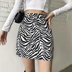 Puffie - Zebra Print Mini A-Line Skirt