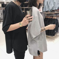 Genki Groove - Couple Matching Monochrome Elbow-Sleeve T-Shirt
