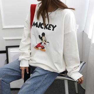 DANI LOVE - Round Neck Mickey Mouse Print Sweatshirt