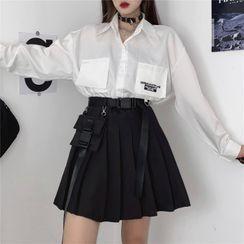 Malnia Home - Long Sleeve Cargo Shirt / Pleated Mini A-Line Skirt
