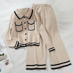 Miss Puff - 套装: 针织衬衫 + 宽腿裤