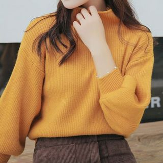 Be Bonita - Mock Neck Puff-Sleeve Sweater