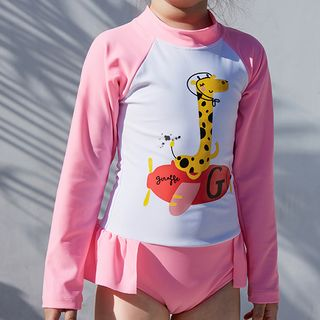 Roseate(ロシーテ) - Kids Long-Sleeve Giraffe Print Swimsuit