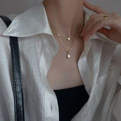 Metallique - 925 Sterling Silver Pearl Pendant Layered Necklace