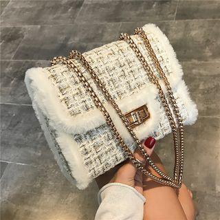 Nautilus Bags - Fluffy Trim Tweed Crossbody Bag