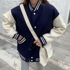 Moon City - Snap-Button Baseball Jacket