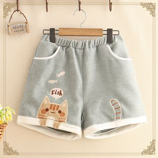 Kawaii Fairyland - Cat Embroidered Shorts