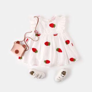My Olie Baby - 小童草莓刺繡無袖A字連衣裙
