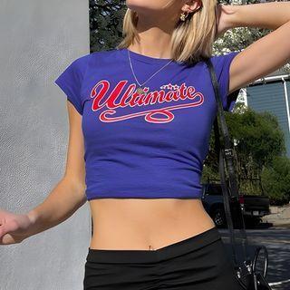 MOONGATE - Short-Sleeve Lettering Crop T-Shirt