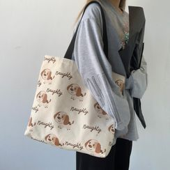 Basaran - Dog Print Canvas Tote Bag